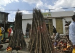 selling bonfires on the road for Meskel day