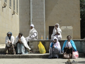 Pilgrims outside the church of Debre Libanos
