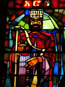 stained glass at Debre Libanos, representing King David