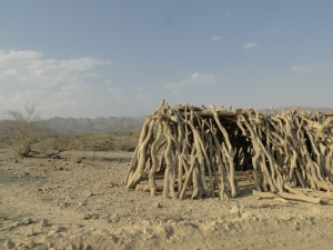 a traditional Afar shelter, left abandoned by the side of a track
