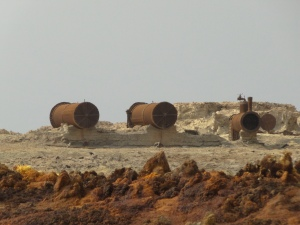 abandoned steam engines, a testimony of past mining activity in Dallol