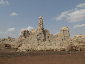 desert castle vision in Dallol, a salt and earth geological formation
