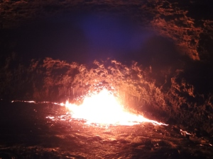 The Erta Ale volcano at night