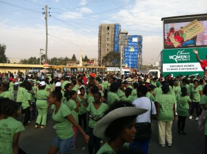 Getting ready to run the Women First 5kms in Addis