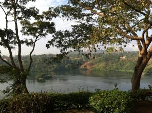 The Nile river in Jinja, Uganda, at the exit of Lake Victoria