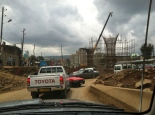 Driving through the current construction sites in Addis