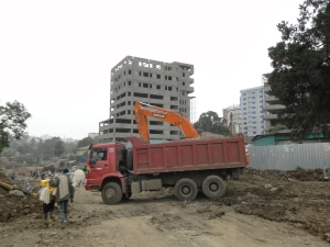 the heavy construction work in Addis: one of the reasons for the many water and power cuts