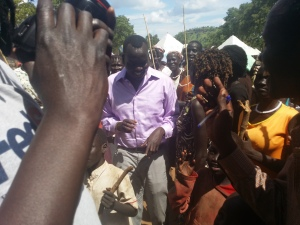 Manyang visiting a camp in Gambella, western Ethiopia