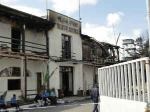 The main façade of Taitu hotel after the fire