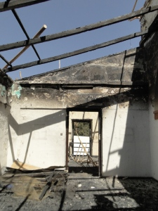 One of the collapsed roof at Taitu hotel