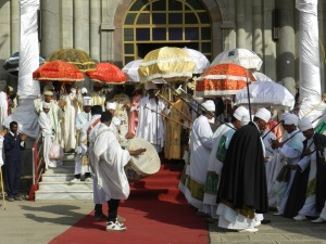 the Timkat procession leaving the church